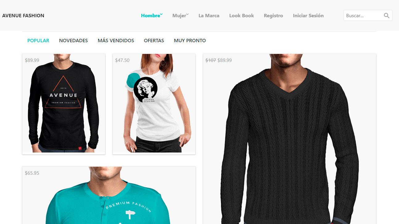 Tienda de camisetas en línea