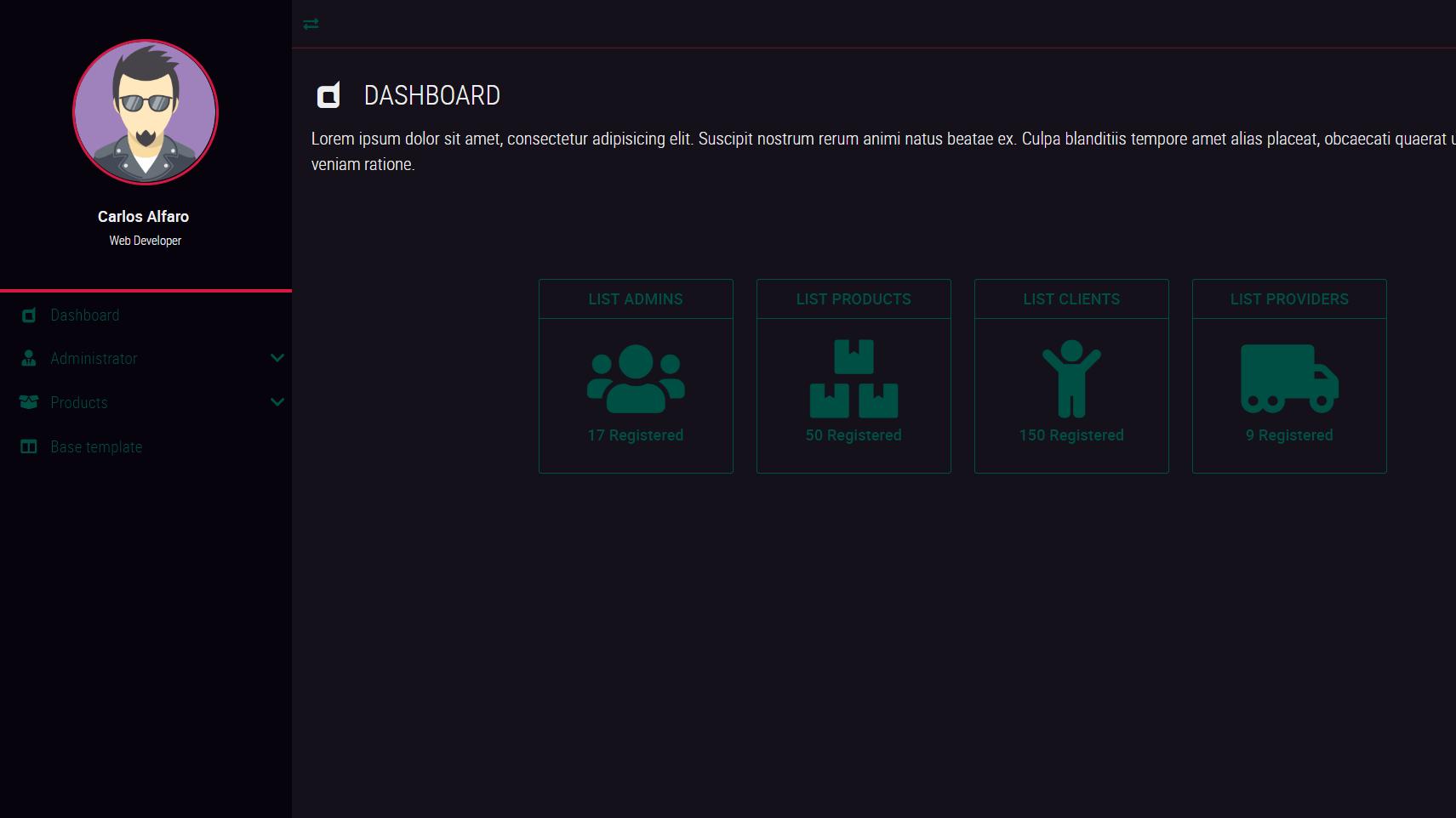 Dark Neon (admin dashboard)