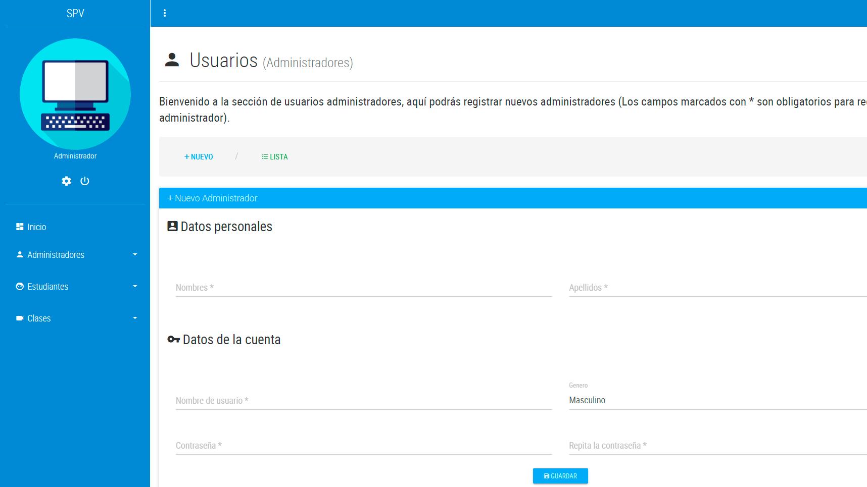 Plataforma de aula virtual